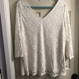 Lane Bryant lace front blouse